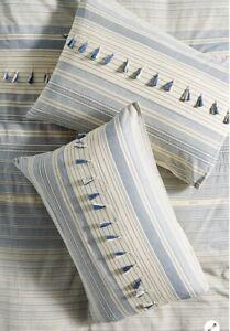"Anthropologie Woven Mariella Standard Sham 20x26""100% Cotton Tassels Boho - Pair"