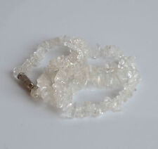 VINTAGE gemstone ice clear rock crystal ''pool of light'' chips necklace