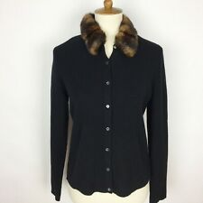 LAUREN Ralph Lauren Faux Fur Collar Wool Angora Cashmere Blend Black Cardigan PS