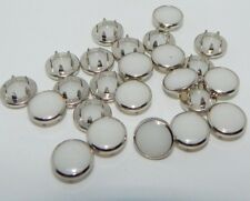 144ct. 12mm Metal Round Brad/Studs with 10mm Milky Beads(Bulk)NEW(2346)