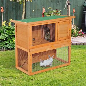 Pawhut 90cm 2 Tiers Rabbit Hutch Wooden Pet Cage Run Vintage Bunny House