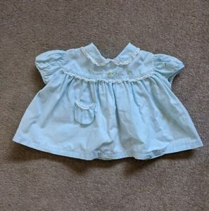VINTAGE BABY INFANT GIRL BLUE DRESS  EMBROIDERED LACE PETER PAN COLLAR