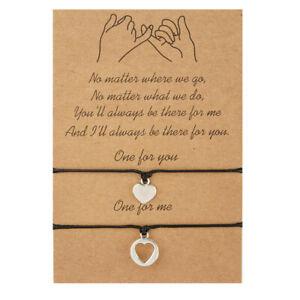 Love Heart Friendship Lover Couple Charm Card Wish You Me Promise Bracelet Gift