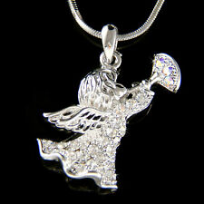 w Swarovski Crystal Heralding Guardian Angel Trumpet Xmas Holiday Charm Necklace