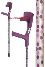 CRUTCHES FUCHSIA WINDSOR ADJUSTABLE  TO 10 POSITIONS DOTS DESIGN