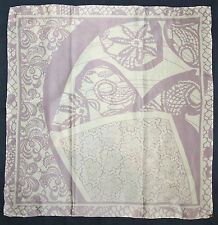 Turkish TEKBIR Designer Purple White FLORAL LACE Hand Rolled Satin Silk 33 Scarf