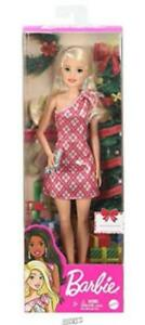 Mattel-Barbie 2020 Barbie Holiday Doll Christmas Wearing Red and Silver Dress 3+