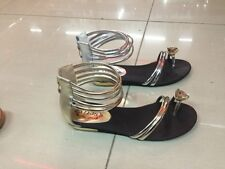 Silver Strappy Toe Ring Sandals size US 7 EU 38