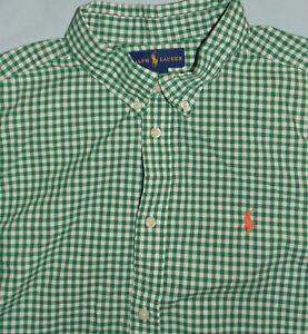 Boys Ralph Lauren Cotton Gingham Shirt,Green,sz 18-20 XL-similar to mens S. Nice