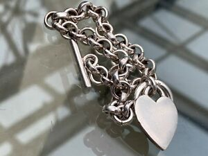 Vintage Heart & Chain Solid Silver Bracelet. 7.75 Inches. Hallmarked