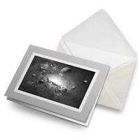 Greetings Card (Grey) BW - Space Planets Saturn Sci-Fi  #38312
