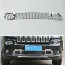 Chrome Front Grill Bumper Grille Mesh Cover Trim 3Pcs Fit For Cherokee 2014-2016
