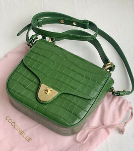 NWT COCCINELLE green croc printed satchel bag with removable strap RRP $720