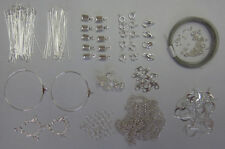 Findings Kit Silver Tone For Jewellery Making & Beading-Pins,Clasps,Chain,Crimps