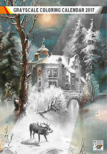 "Coloring Calendar 2017 (12 pages 8""x11"") Winter Forest Rural Vintage FLONZ 1009"