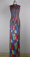MULTICOLOR PRINT LYCRA GOWN/SLEEVELESS DRESS/COSTUME/DRAG QUEEN/10-16 (Maybe 18)