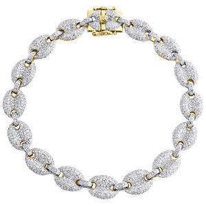 "10K Yellow Gold Genuine Diamond 10mm Puff Gucci Pave Link 9.75"" Bracelet 6 CT."