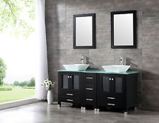 "60"" Black Double Solid Wood  Bathroom Vanity Cabinet Ceramic Sink Mirror Faucet"