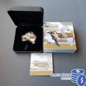 2012 $1 Australian Map Shaped Coin Kookaburra 1oz Silver Coloured Coin