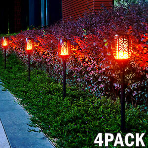 4x LED Solar Torch Dance Flickering Flame Light Garden Yard Lawn Waterproof Lamp