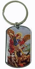 Epoxy Coated Prayer to Saint Michael Dog Tag Keychain