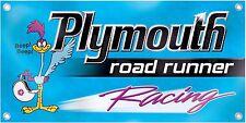 NEW Plymouth Roadrunner Racing Car Banner Retro Vintage Logo Emblem Sign Replica