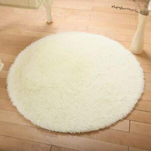 Soft Shaggy Round Rug Living Room Carpet Bedroom Floor Mat Carpet Pad