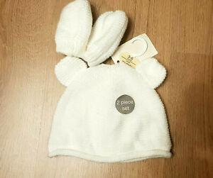 Baby unisex newborn 2 pieces set beanie hat gloves 3-6 months white knitted