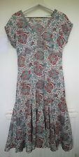 East Artisan with Anokhi Floral Silver Hand Blocked Cotton Midi Dress UK 10
