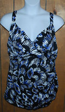 Swim Solutions Swimsuit Tummy Control Plus 22W Black Blue Silver White NWT $106