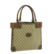 GUCCI Sherry Line GG Canvas Hand Bag Red Green Auth 15172