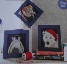 CROSS STITCH CHART -  3 FLUFFY ANIMALS CHRISTMAS CARDS ROBIN PENGUIN POLAR BEAR