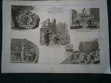 Gravures N/B1822 vieux métiers: Aménagement et emploi du bois