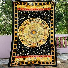 Indian Tapestry Wall Hanging Astrology Zodiac Horoscope Mandala Printed Queen