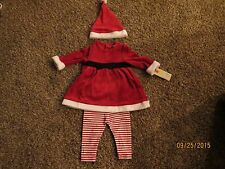 Girls Christmas Santa Outfit with Hat 3-6 months