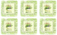 Fresh Herbs Rosemary Thyme Chives Sage Set of 6 Cork Backed Drink Coasters New