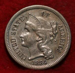 1884 Business Strike Philadelphia Mint Nickel Three Cent Coin