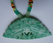Antique Jade Butterfly Carved Pendant Necklace Qing