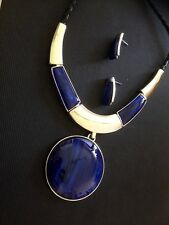 silver necklace and earring set with blue statement pendant handmade new 2018