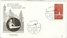 Germany Olympic Games 1972 Munich Olympic cover and cancel Gymnastics München