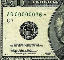 *1996 $20 FRN  *** STAR *** (( Birthday Note )) # AG00000076*