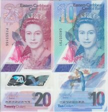 Eastern Caribbean notes P. NEW 10 & 20 Dollars 2019 Polymer QEII