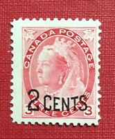 Stamps Canada Sc88 2c on 3c (Sc78) carmine MNH Queen Victoria Numeral Issue 1899