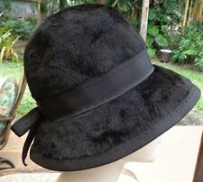 Elegant 60s Black Felt Empress Cloche Hat (made in W. Germany) Costumes/Reg Wear
