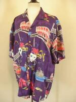 Mens L XL Vtg 1980's Paradise Found Hawaiian Shirt 100% Rayon New Orleans Purple
