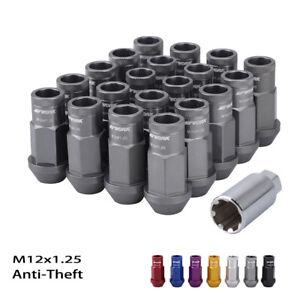 20pc Anti-theft Wheel Lock M12x1.25 Lug Nuts 50mm Extended Gray Aluminum w/Key