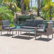 4PCS Outdoor Patio Rattan Wicker Sectional Furniture Table Sofa Cushioned, Gray