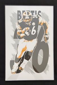 EXCELLENT CONDITION!  FRAMED JEROME BETTIS PITTSBURGH STEELERS ART PRINT POSTER