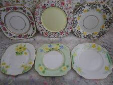 Lovely vintage set of 6 Mismatched Square Side Plates,  Good vintage condition