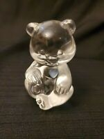 Fenton Clear Glass Birthstone Bear Figurine Light Blue Heart Paperweight